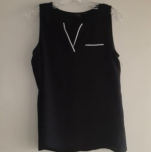 Covington Sheer Black Sleeveless V-Neck Top